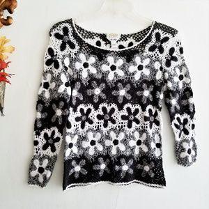 Hand Knit Black & White Crochet Flowers Top